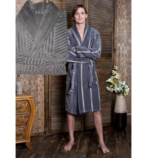 Мужской банный халат SL L (50) серый
