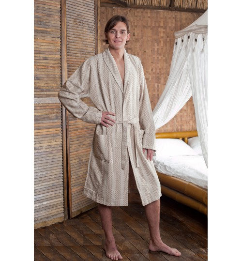Мужской банный халат SL Qualla M (48) бежевый