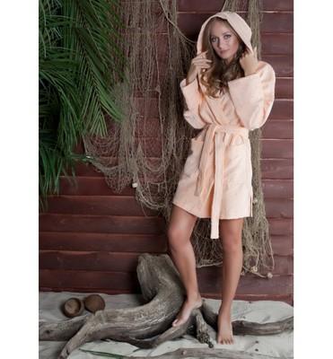 Банный халат SL с капюшоном L (50) персиковый