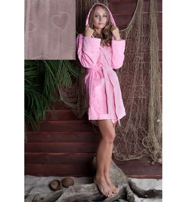 Банный халат SL с капюшоном L (50) розовый