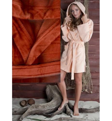 Банный халат SL с капюшоном M (48) терракот