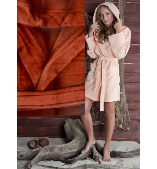 Банный халат SL с капюшоном L (50) терракот
