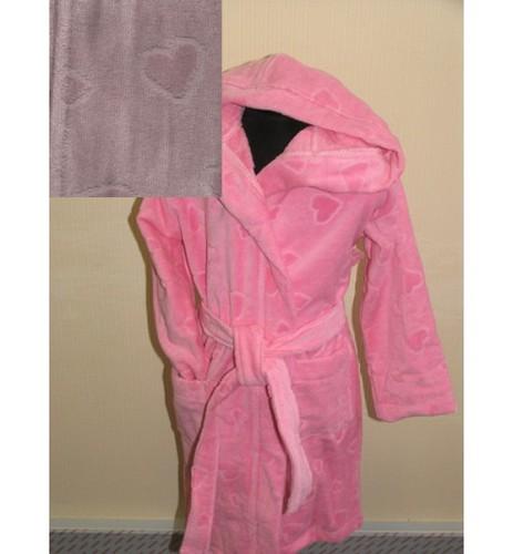 Детский халат с капюшоном SL розовый 6-8 лет