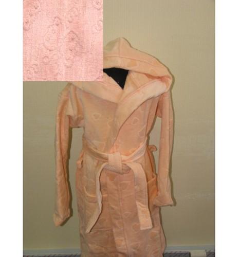 Детский халат с капюшоном SL персиковый 8-10 лет