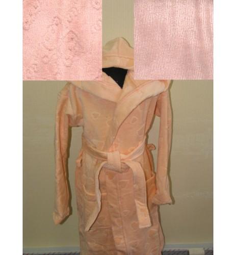 Детский халат с капюшоном SL персиковый 4-6 лет