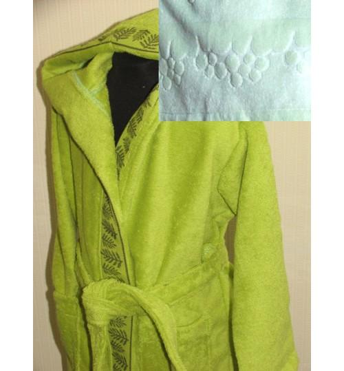 Детский халат с капюшоном SL салатовый 4-6 лет