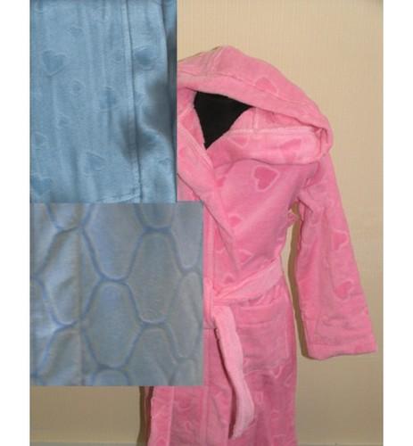 Детский халат с капюшоном SL голубой 10-12 лет