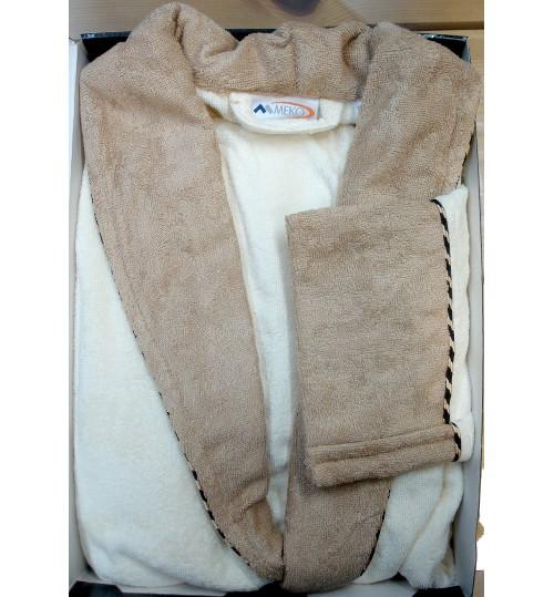 Банный мужской халат SL Бамбук XХХL (56) кремовый