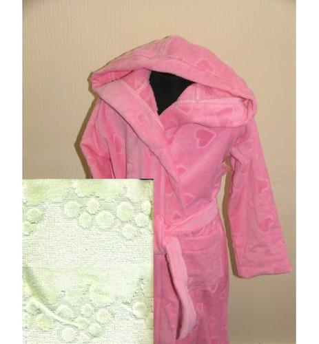 Детский халат с капюшоном SL зеленый 8-10 лет