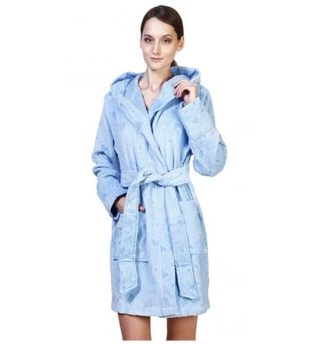 Банный халат SL с капюшоном L (50) голубой