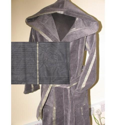 Детский халат с капюшоном SL серый 8-10 лет