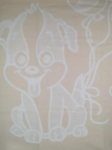 Байковое одеяло-плед Valtery Бежевая собачка