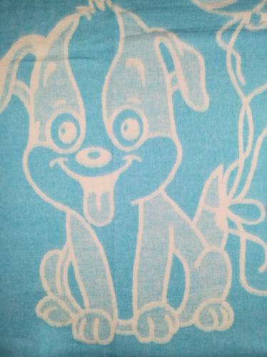 Байковое одеяло-плед Valtery Голубая собачка