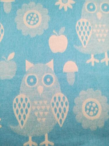 Байковое одеяло-плед Valtery Голубая сова