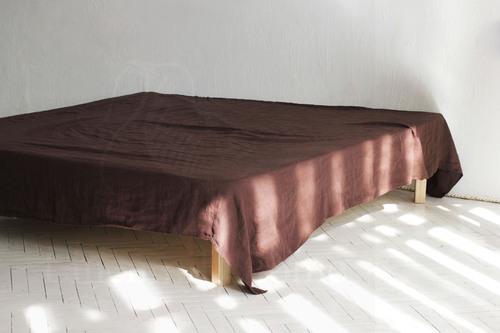 Льняная простыня 230х240 см Brown
