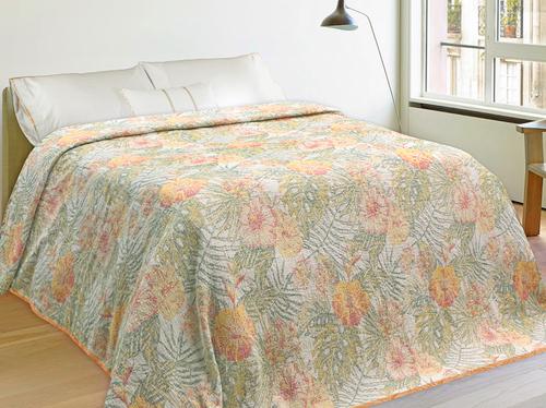 Льняной плед с рисунком цветов Гибискус 200х240 см