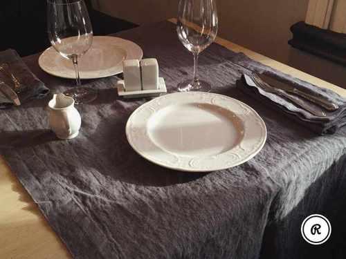 Столовая дорожка из мягкого льна Sweet Grey 50х150 см