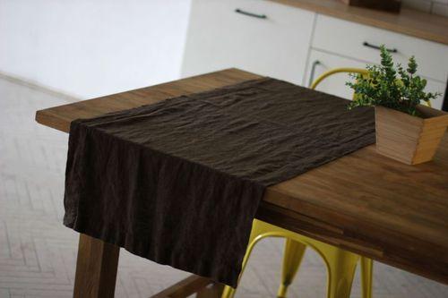 Столовая дорожка из мягкого льна Choko 40х250 см