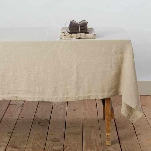 Бежевая прямоугольная скатерть Soft Linen 180х220 см