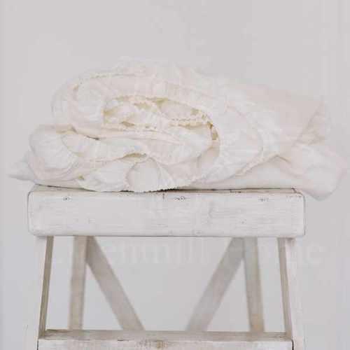 Льняная простыня на резинке 160х200х30 см White