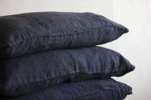 Льняная наволочка 50х70 см Dark Grey