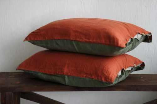 Двухцветная наволочка хаки-оранж 50х70 см