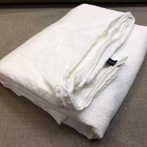 Белый льняной пододеяльник 160х220 см