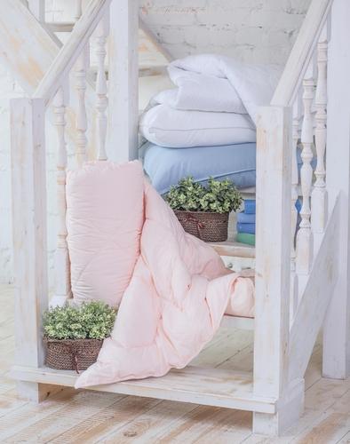 Подушка Лебяжий пух голубой Леди Прима