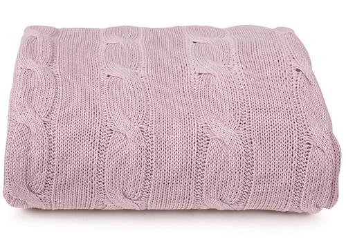 Вязаное покрывало Париж розовый