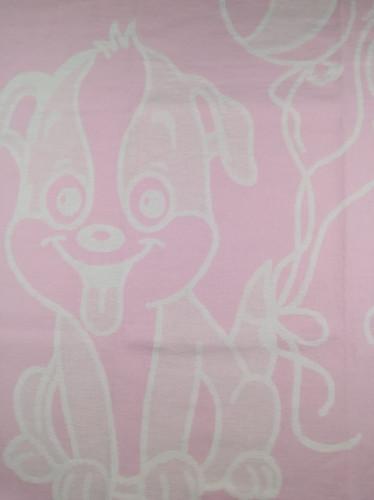 Байковое одеяло-плед Valtery Розовая собачка