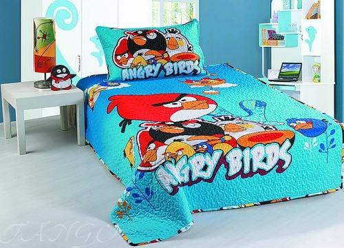 Детское покрывало с наволочкой Angry Birds