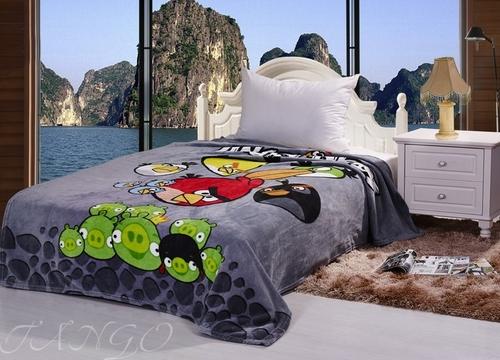 Детский плед Angry Birds серый