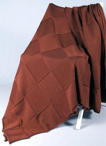 Плед вязаный 165х210 Valtery Квадрат коричневый