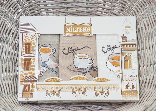 Набор кухонных полотенец Nilteks Coffee V3