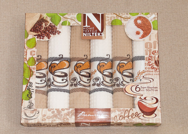 Набор вафельных полотенец Nilteks Coffee V4