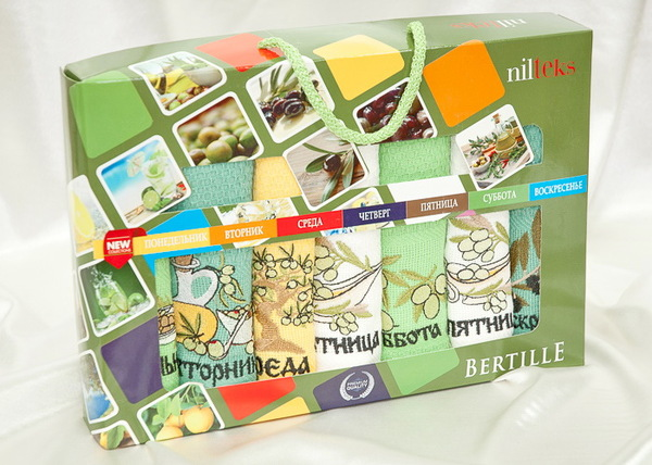 Набор вафельных полотенец Nilteks Week Olive