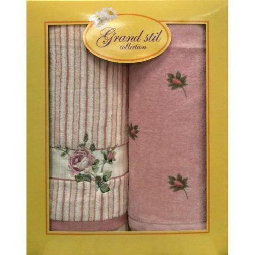 Набор полотенец Grand Stil Дуэт Велюр розовый