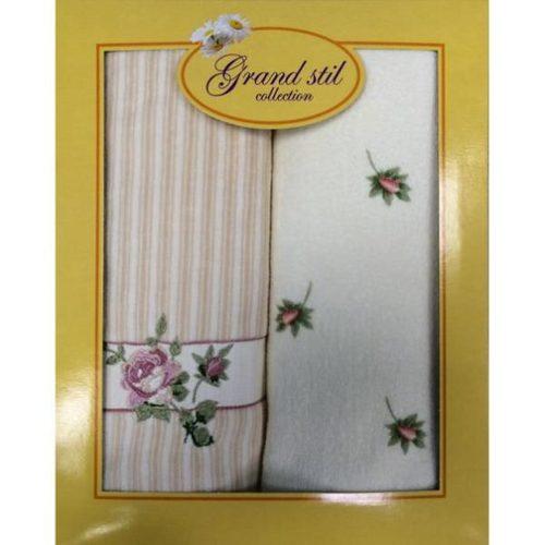Набор полотенец Grand Stil Дуэт Велюр кремовый