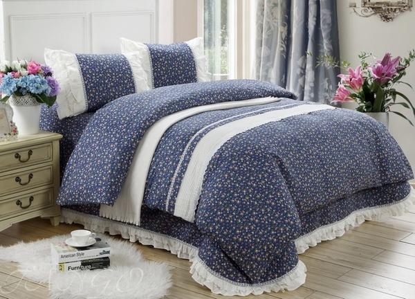 Постельное белье с покрывалом Provence темно-синий