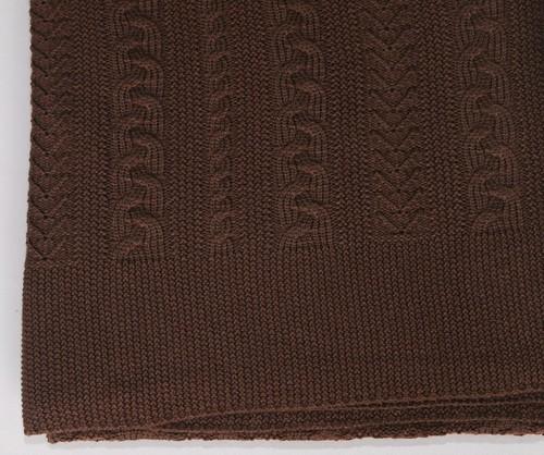 Плед вязаный 175х210 Valtery Коса шоколад