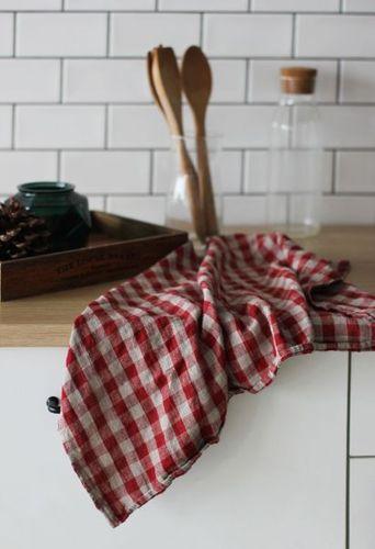 Льняное полотенце в клетку Бордо Soft 50х70 см