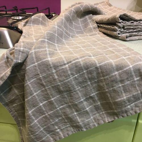 Бежевое льняное полотенце в классическую клетку Soft 50х70 см