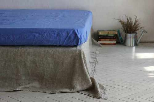 Льняная простыня на резинке 160х200х20 см Soft Linen