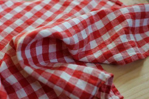 Льняное полотенце в красную клетку Soft 50х70 см