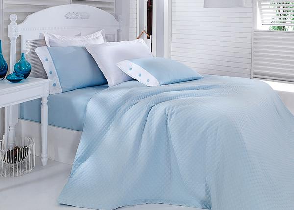 Постельное белье с покрывалом Oxford голубой