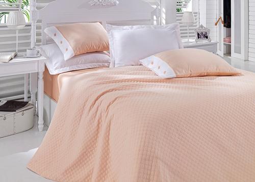 Постельное белье с покрывалом Oxford персиковый